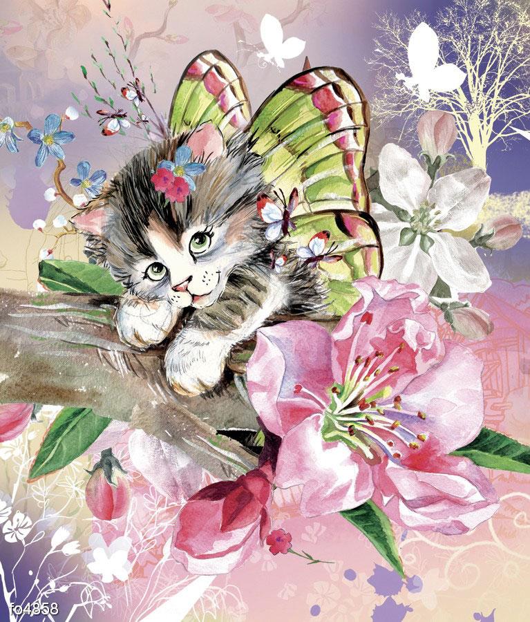 Открытка кошка с бабочками